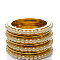 Gold-Plated and Pearl Bangle Set