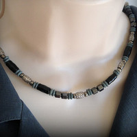 Men's Black and Gray beaded necklace, Gift for him, Minimalist necklace, Men's Jewelry, Preppy Jewelry, Popular Jewelry, Beaded Jewelry