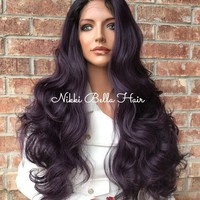 "SALE Laurel Dark Purple Ombré  26"" Lace Front Wig 1218 5"
