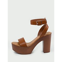 Ankle Strap Open Toe Wood Platform Heeled Sandals