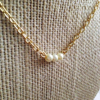 Delicate Dainty Glass Pearls on Gold Plated Necklace by Delauria
