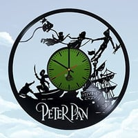 Wendy Peter Pan HANDMADE Vinyl Record Wall Clock - Get unique bedroom wall decor - Gift ideas for kids, teens and babies - Walt Disney Unique Art Design - Leave us a feedback and win your custom clock