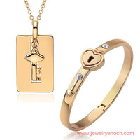 Fashion Stylish Key Design Alloy 18k Gold Full Jewelry Set