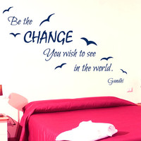 Wall Decal Quote Be The Change You Wish To See In The World Birds Vinyl Stickers Sea Gull Mural Home Interior Design Living Room Decor KI16
