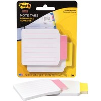 Post-it Note Info Tab Labels, 3-3/8 Inches x 2-3/4 Inches, 25 per Color, Coral, Yellow (2200-RY)