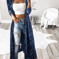 Blue Plain Turndown Collar Long Sleeve Fashion Velvet Trench Coat