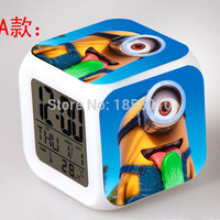New Despicable Me 3D Eye Small Minions LED 7 Colors Change Digital Alarm Clock Thermometer As Gift For kids children