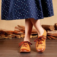 Handmade Fashion Leather Flat Shoes For Women Soft Oxfords&Tie Shoes Brown Lace Up Flats