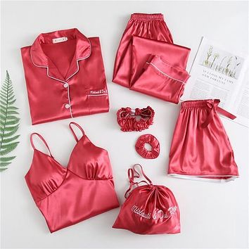 Sleepwear Silk Satin Pajamas Sets 7 Pieces