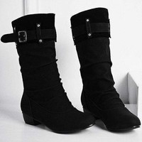 Buckle Rhinestone Ruched Mid-Calf Boots - Black 37