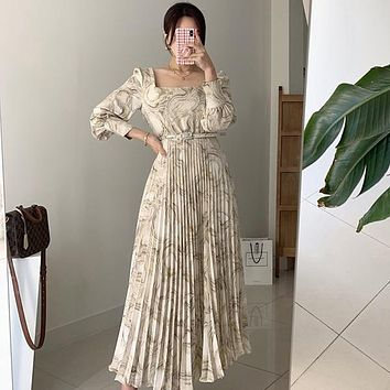 Fashion Square Collar Ink Painting Waist-length Pleated Ankle-Length Elegant Dress for Women