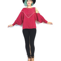 80s Pink Silk Sequin Blouse Beaded Floral Shirt Long Sleeve Batwing Fancy Embroidered Fuschia Hot Bright Pink Top (M/L)