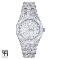 Jewelry Kay style Techno Pave Bling Men's Silver Plated Iced Hip Hop Metal Band Watches WM 8651 S
