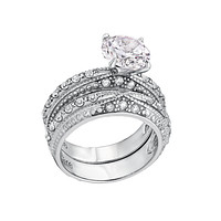 Royal Wedding - Stainless Steel Clear CZ Wedding Ring Set