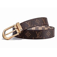 LV Louis Vuitton New Fashion Monogram Check Leather Women Men Belt