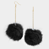 Rabbit Fur Pom Pom Dangle Earrings - Black