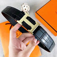 Hermes New Fashion H Letter Buckle Leather Women Men Leisure Belt Black