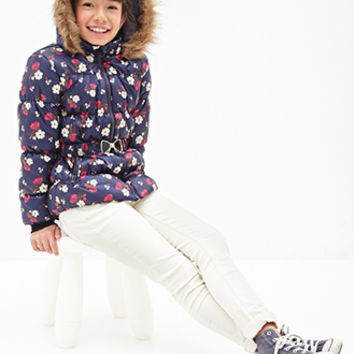 FOREVER 21 GIRLS Hooded Floral Puffer Jacket (Kids) Navy/Multi