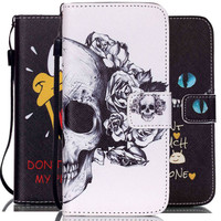 Luxury PU Leather Flip Phone Case Cover For Apple iPhone 5C 5 5S SE 6S 6 Plus 4.7'' 5.5'' with Wallet Card Slots+Hand Strap