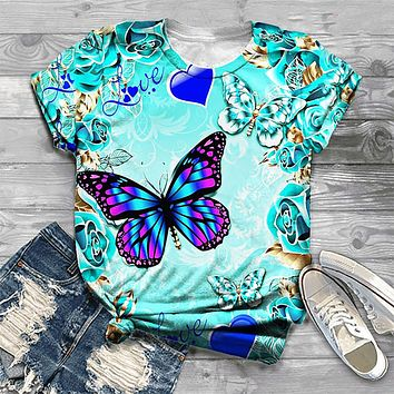 Vibrant Butterfly Ladies Tee