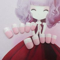 New Arrival Star Style Children False Nails 24 Pcs Pre-glue Press on Pink Cute Fake Nails Tips for Little Girls
