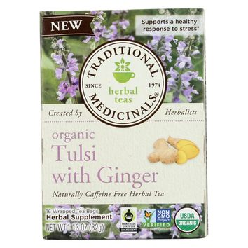 Traditional Medicinals Organic Herbal Tea - Tulsi With Ginger - Case Of 6 - 16 Count