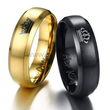 Personalized King and Queen Crown Titanium Rings for 2