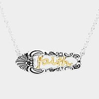 """Faith"" Antique Metal Pendant Necklace"