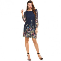 Women's Long Sleeve Chiffon Floral Print Casual Shift Dress