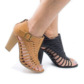 Lecture By Delicious, Open Toe Huarache Woven Stacked Block Heeled Sandal