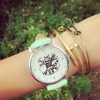 PU Leather Belt Round Dial Quartz Watch with Cartoon Cat Print