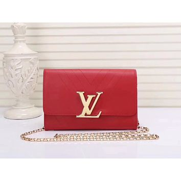 LV Louis Vuitton OFFICE QUALITY WOMEN'S LEATHER INCLINED CHAIN SHOULDER BAG