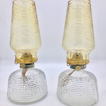 Vintage Pair of Anchor Hocking Soreno Glass Honey Gold Oil Lamps Mod Patio Tiki Bar