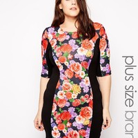 Club L | Club L Plus Size Body-Conscious Dress With Floral Panel at ASOS