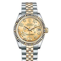 Rolex Datejust 31 Champagne Raised Floral Motif Dial18k Yellow Gold Ladies Watch 178273