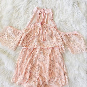 Off The Shoulder Scalloped Lace Romper (Pink)