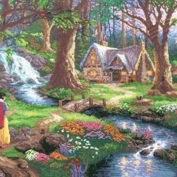 M C G Textiles Disney Dreams Collection by Thomas Kinkade Snow White Discovers,16-Inch by 12-Inch, 18 Count