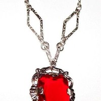 """Art Deco Red Pendant Necklace Sterling Silver Metal Chain Festive 15"""" Vintage"""