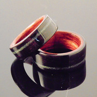 Ebony Wood Wedding Bands bubinga liner, African jade inlay
