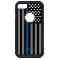DistinctInk™ OtterBox Commuter Series Case for Apple iPhone or Samsung Galaxy - Thin Blue Line US Flag Law Enforcement