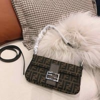 Fendi Women Leather Shoulder Bag Shopping Satchel Tote Bag Handbag
