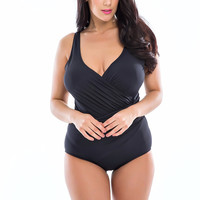 Padded Ruched Tummy Slimming One Piece Swimsuit