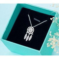 925 Sterling Silver Dreamcatcher feather Charm Necklace Pendant Silver Dream Catcher Pendant Statement Choker Necklace GTLX487