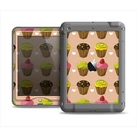 The Brown, Pink and Yellow Cupcake Collage Apple iPad Mini LifeProof Nuud Case Skin Set