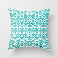 Turquoise Pines Throw Pillow by Pom Graphic Design