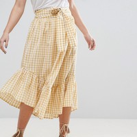 ASOS Midi Skirt in Gingham with Asymmetric Hem and Tie Waist at asos.com