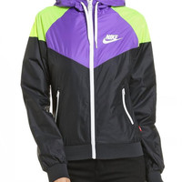 Women Nike Purple Hooded Jacket Windbreaker