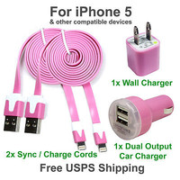2 x Pink Charging Kits - Flat Cords + Wall & Dual Port Car Chargers for iPhone 5