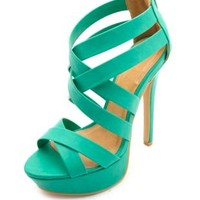 Crisscrossing Strappy Platform Heels by Charlotte Russe - Teal