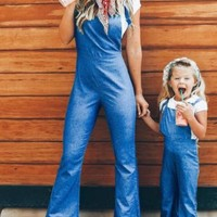 New Blue High Waisted Casual Long Overall Pants